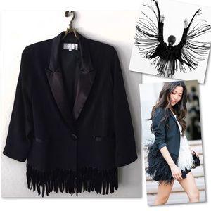 Vintage Jackets & Coats - PLATINUM DOROTHY SCHOELEN BLACK FRINGE BLAZER SZ M